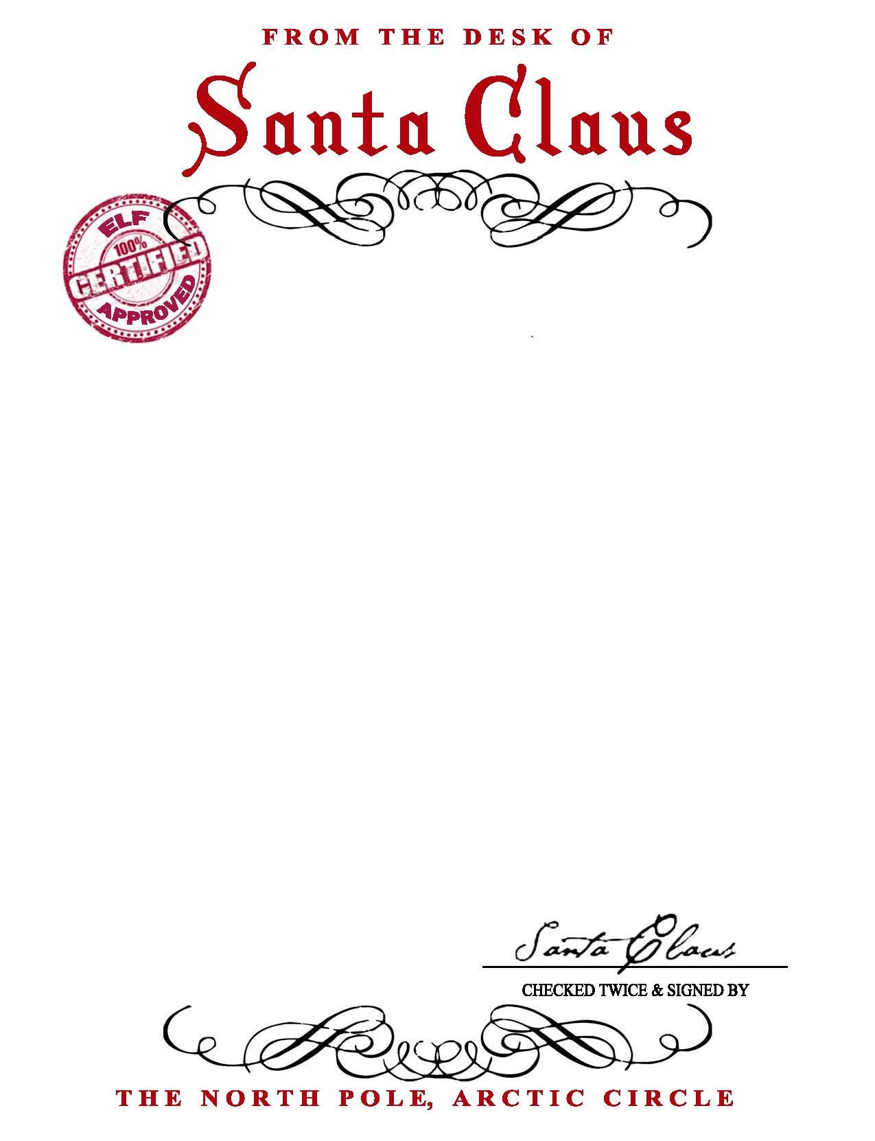 Click Here For A Free Printable Version Of The SANTA CLAUS LETTERHEAD